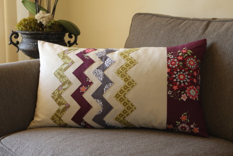 pillow: crazy for zig zags