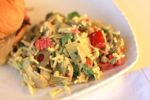 ... this amazing Chilled Rice and Artichoke Salad to our family picnic